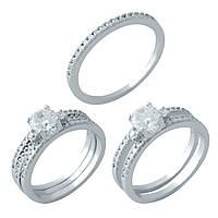 Двойное серебряное кольцо 925 пробы с фианитами