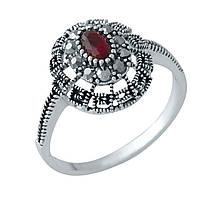 Серебряное кольцо 925 пробы с натуральными марказитами, рубином nano