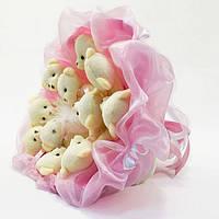 Букет из игрушечных мишек (нежно-розовый), 11 мишек в букете