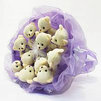 Букет из игрушечных мишек (лавандовый), 11 мишек в букете