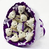 Букет из игрушечных мишек (аметистовый), 9 мишек в букете