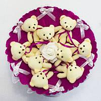 Букет из игрушечных мишек (фуксия), 9 мишек в букете