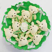Букет из игрушечных мишек (изумрудный), 9 мишек в букете