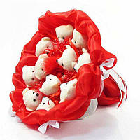 Букет из игрушечных мишек (красный), 11 мишек в букете