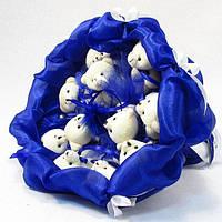 Букет из игрушечных мишек (синий), 11 мишек в букете