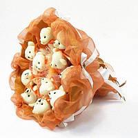 Букет из игрушечных мишек (терракотовый), 11 мишек в букете