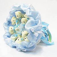 Букет из игрушечных мишек (небесно-голубой), 11 мишек в букете