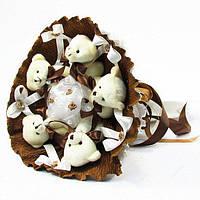 Букет из игрушечных мишек (цвет: шоколад), 5 мишек в букете