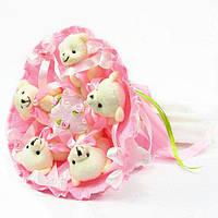 Букет из игрушечных мишек (розовый), 5 мишек в букете