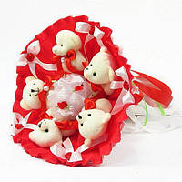 Букет из игрушечных мишек (красный), 5 мишек в букете