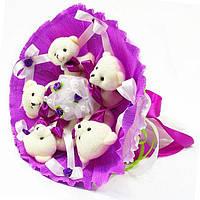 Букет из игрушечных мишек (сиреневый), 5 мишек в букете