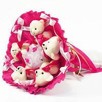 Букет из игрушечных мишек (малиновый), 5 мишек в букете
