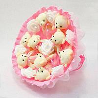 Букет из игрушечных мишек (розовый), 9 мишек в букете