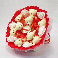 Букет из игрушечных мишек (красный), 9 мишек в букете