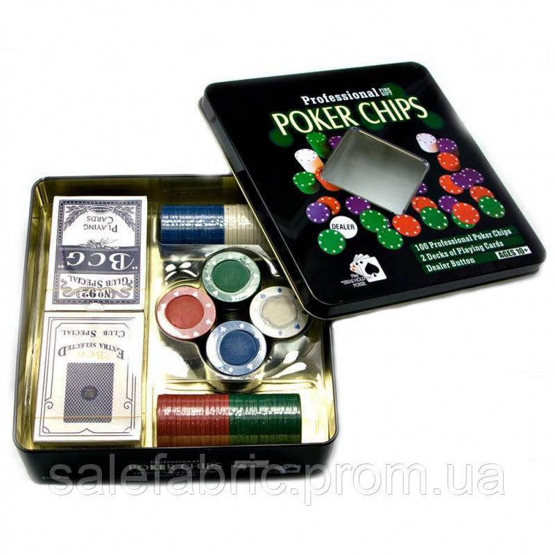 Покерный набор на 100 фишек с номиналом в металлической коробке №100t-2