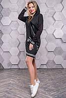 Женское повседневное платье, размеры от 42 до 48, чёрное, молодёжное, спортивное, весеннее,осеннее