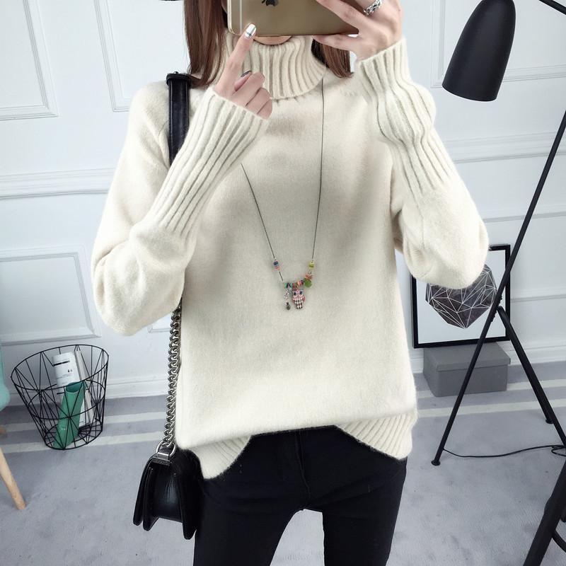 Женский вязанный свитер с воротником белый опт