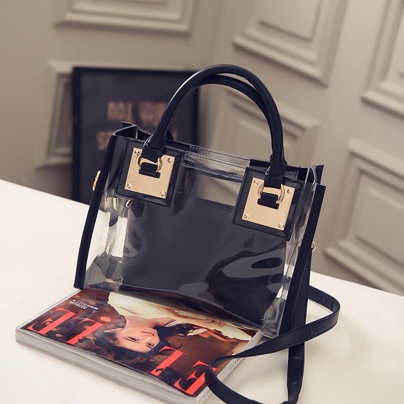 Женская прозрачная сумка+косметичка черная