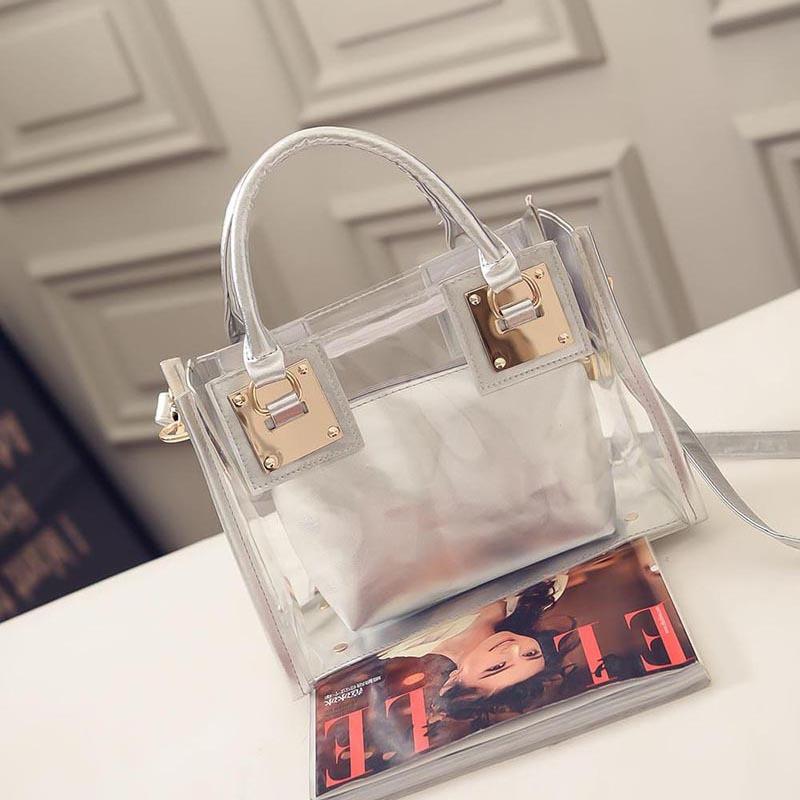 Прозрачная женская сумка + косметичка серая опт