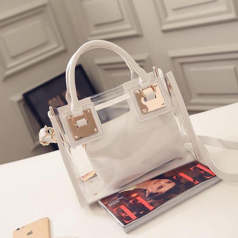 Молодежная прозрачная сумка + косметичка белая опт