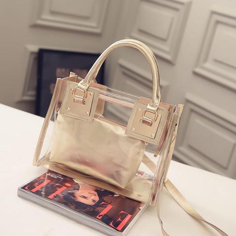 Стильная сумка прозрачная + косметичка золотистая из PVC опт