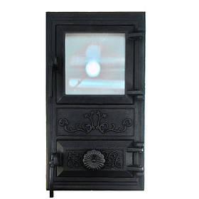 Дверца для печи со стеклом 470 х 280, чугунная печная дверка 102912 с регулировкой подачи воздуха