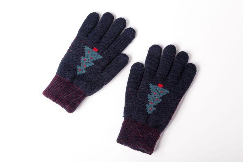 Женские зимние перчатки с рисунком и сенсорными пальцами синие опт