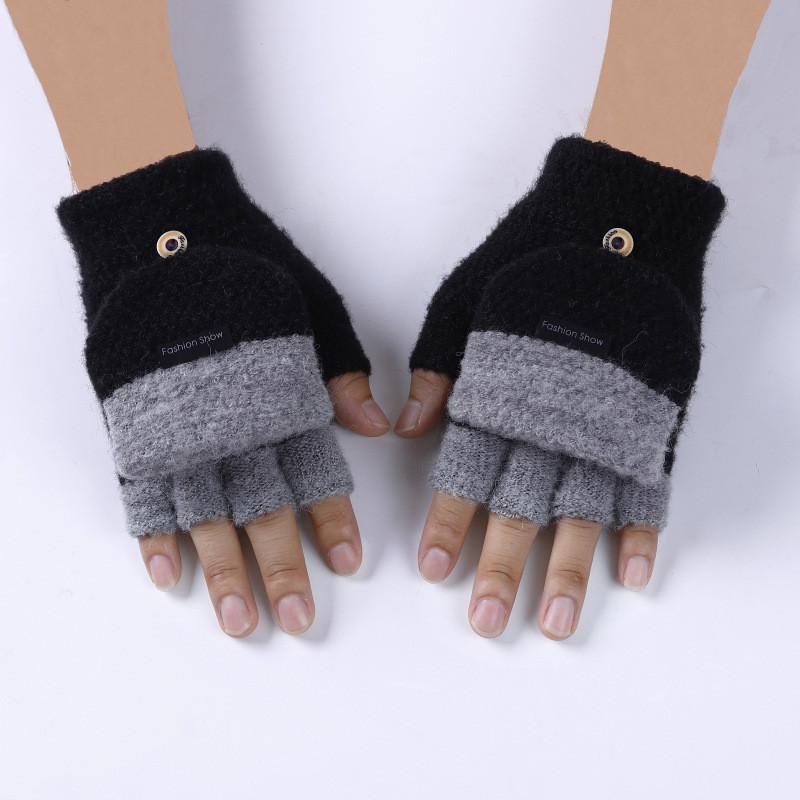 Варежки с открытыми пальцами унисекс черные с серыми пальчиками