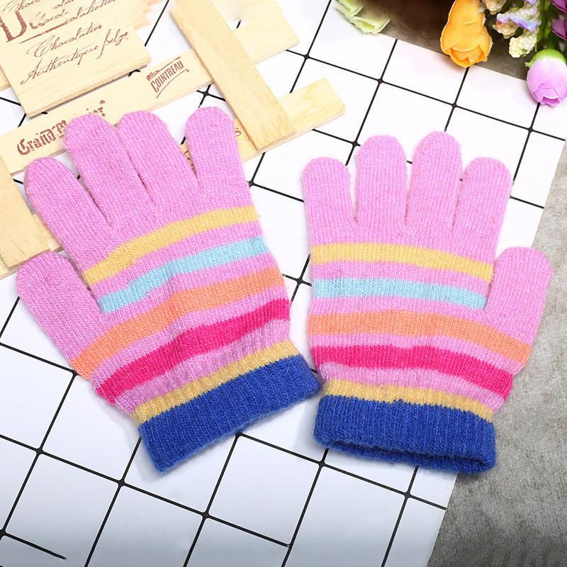 Перчатки розовые для девочки весна/осень в полоску опт