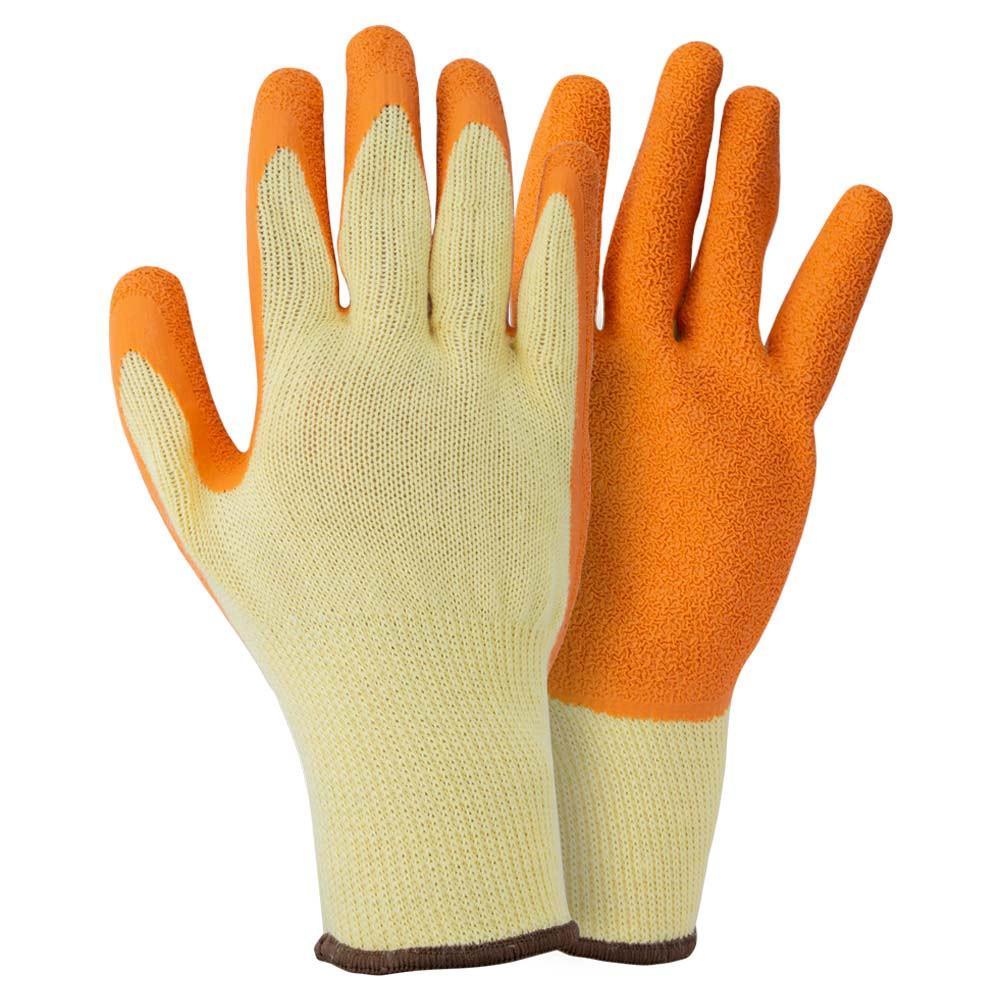 Перчатки трикотажные с частичным латексным покрытием кринкл р10 (оранж манжет) Sigma 9445461