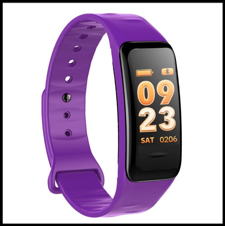 Смарт браслет C1S фіолетовий (Крокомір, повідомлення про дзвінки та смс, пульсометр, датчик тиску)