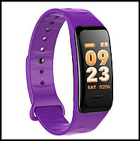 Смарт браслет C1S фіолетовий (Крокомір, повідомлення про дзвінки та смс, пульсометр, датчик тиску), фото 1