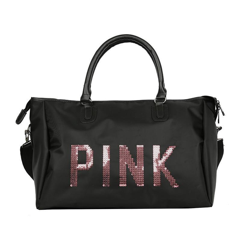 Спортивна женская сумка тканевая черная PINK