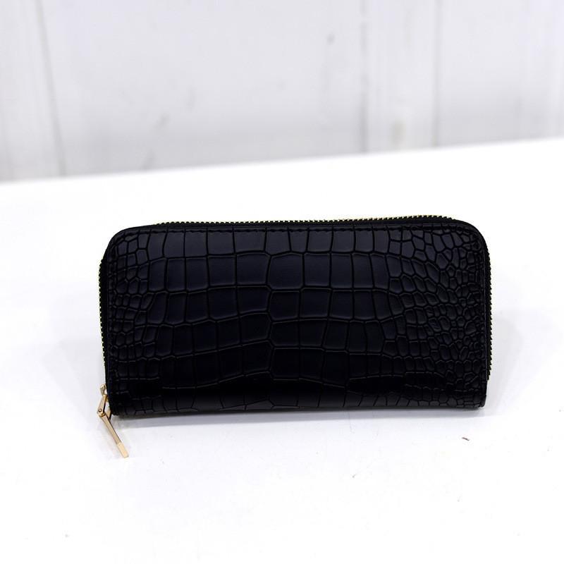 Женский кошелек на молнии черный из качественной экокожи