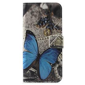 Чехол книжка для Huawei Honor 7C AUM-L41 боковой с отсеком для визиток, Голубая бабочка
