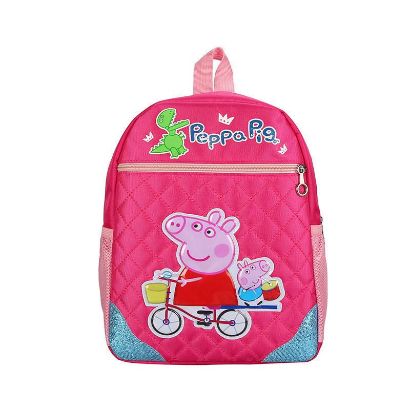 Школьный рюкзак для девочки розового цвета с рисунком Peppa Pig