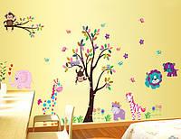 Наклейка виниловая Зверята Джунгли 3D декор