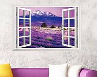 Наклейка виниловая Пейзаж Окно на лавандовое поле