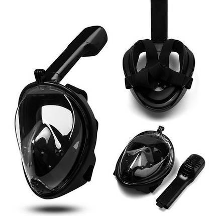 Маска для дайвинга плавания FREE BREATH для снорклинга черная полнолицевая панорамная с креплением для камеры, фото 2