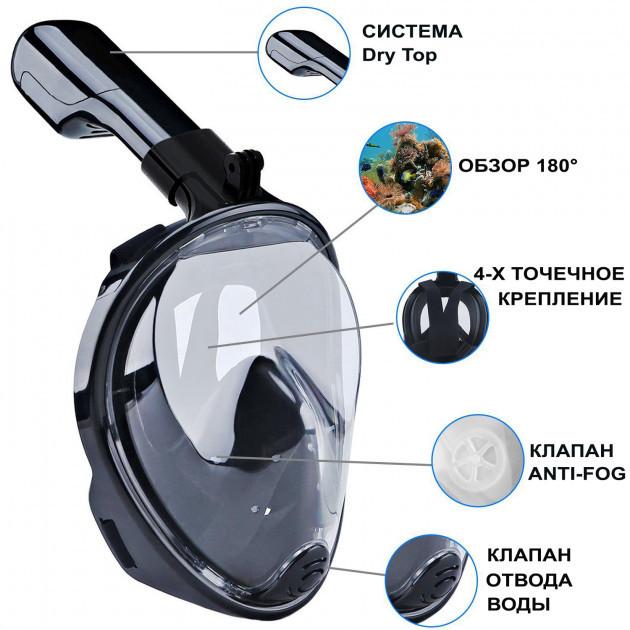 Маска для дайвинга  плавания FREE BREATH для снорклинга черная полнолицевая панорамная с креплением для камеры