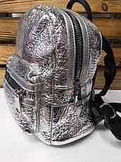 Женская сумка-рюкзак 2 в 1 серебряного металлизированного цвета, дополнительный карман, регулируемые лямки, фото 2