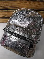 Женская сумка-рюкзак 2 в 1 серебряного металлизированного цвета, дополнительный карман, регулируемые лямки, фото 3