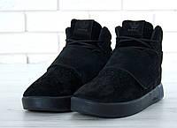 """Зимние кроссовки на меху Adidas Tubular """"Black"""" - """"Черные"""" (Копия ААА+)"""