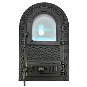 Дверца для печи со стеклом 102914, чугунная печная дверка