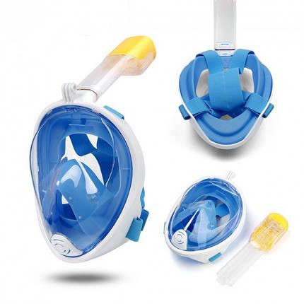 Маска полнолицевая детская 3-8 лет для дайвинга плавания снорклинга синяя FREE BREATH с креплением для камеры, фото 2