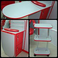 Мебельный комплект для мастера маникюра стол + этажерка