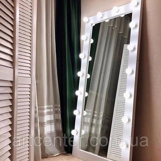 Ростовое зеркало, зеркало с подсветкой в раме белого цвета