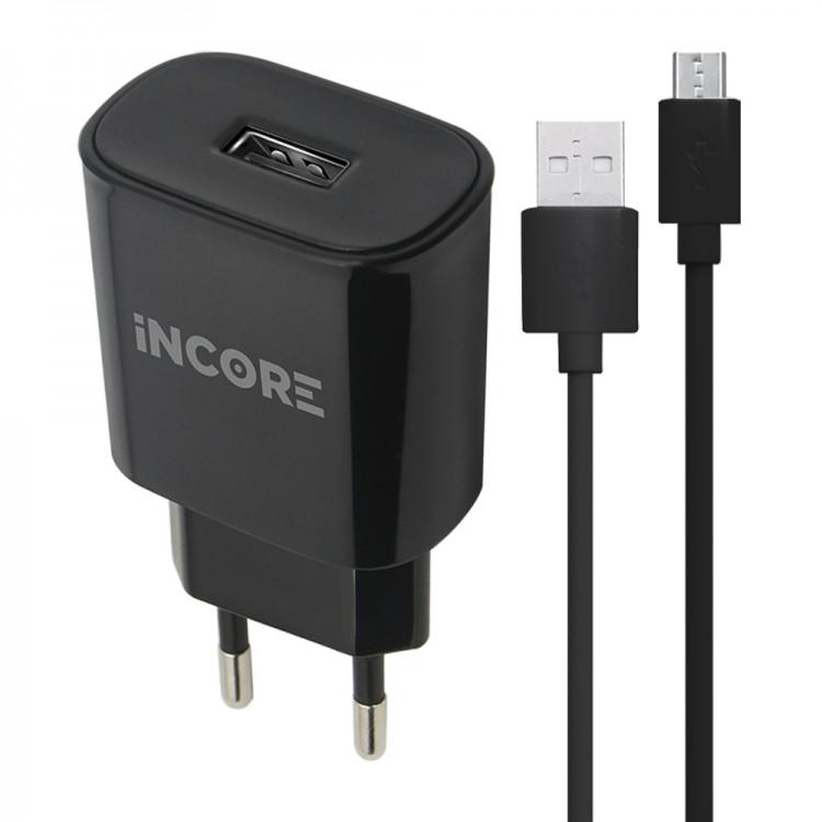 USB адаптер сетевой (зарядное) INCORE 5V 2A Реальных + USB-micro USB кабель для зарядки и синхронизации.Черный