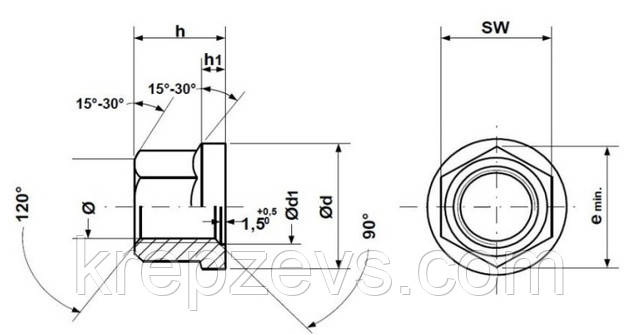 Колесная гайка DIN 74361B чертеж