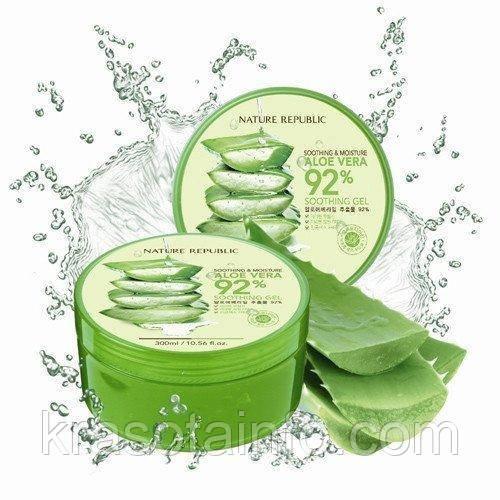 Гель алоэ вера, Южная Корея, натуральный, Soothing & Moisture Aloe Vera 92% Soothing Gel Nature Republic 300 г